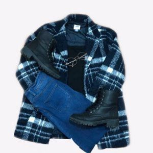 Old Navy Blue White Plaid Wool Blend